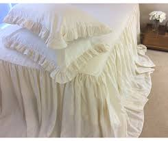 Ivory Cream Bedspread Linen Ruffled Bed Cover Custom Size Queen
