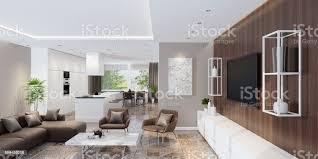 luxus wohnzimmer interieur mit modernen minimalistischen küche stockfoto und mehr bilder blume