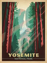 Yosemite National Park Gallery Print Art 18x24 Midcentury Prints