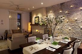 steinfurnier steinwand innendesign wohnzimmer esszimmer