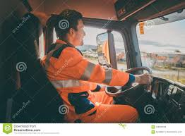 Garbage Removal Worker Driving A Dump Truck Stock Image - Image Of ...