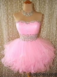 custom made pink puffy short prom gown pink prom dresses formal