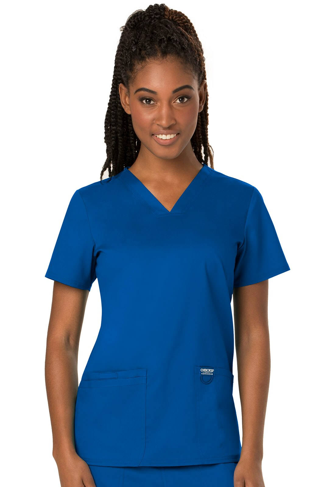 Cherokee Workwear Revolution V-Neck Scrub Top - L - Royal