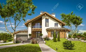 100 Chalet Moderne 3d Rendering Of Modern Cozy House In Style With Garage