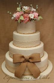 Lace And Burlap Wedding Cake