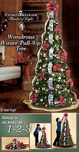 First Ever Thomas Kinkade Pre Lit Pull Up Christmas Tree Creates 6 Magnificent Feet Of Wondrous Winter Beauty In Seconds