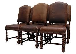 Vintage Lane Leather Barley Twist Dining Chair Set On ...