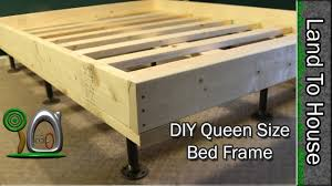 How To Build A King Size Platform Bed Plans by Queen Size Bed Frame Diy Youtube