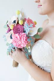 This wedding bouquet is made out of felt flowers learn how