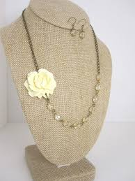 Champagne Wedding Jewelry Ivory Beaded Flower Necklace Bridesmaid Rustic Bridal