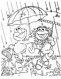 Elmo And Zoe Rainy Day Coloring Page