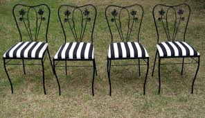 Four Mid-century Wrought Iron Chairs In Black & White Stripe ... 42 Black Metal Outdoor Fniture Ding Phi Villa 300lbs Wrought Iron Patio Bistro Chairs With Armrest For Genbackyard 2 Pack Wrought Iron Garden Fniture Mainstays 3piece Set Gorgeous Patio Design Using Black Chair And Round Table With Curving Legs Also Fabric Arlington House Chair Commercial Sams Club 2498 Slat At Home Lck Table2 Chairs Outdoor Gray Mesh Back