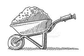 Premium Stock of Wheelbarrow Heap Soil Drawing