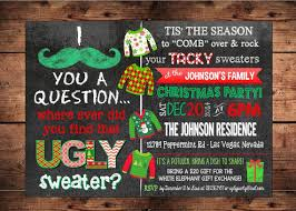 Mustache Ugly Sweater Holiday Party Invitation