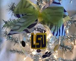 Custom Hand Decorated LSU Inspired Geaux Tigers Louisiana State 4 Glass Christmas Ornament