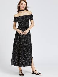 black polka dot off the shoulder slit side dress shein sheinside