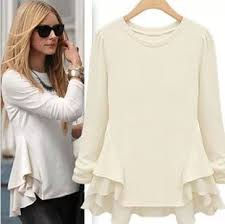 NEW 2014 Fashion Women Girl Casual Clothing T Shirts Tops Tee Blouse Patchwork Chiffon Sweep Shirt Long Sleeve Wave