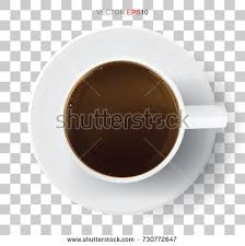 Top View White Coffee Cup On Transparent Background Vector Illustration