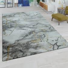 kurzflor teppich marmor design grau gold