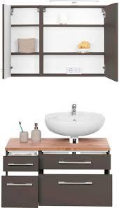 held möbel badmöbel set davos 3 tlg spiegelschrank mit led beleuchtung hängeschrank und waschbeckenunterschrank