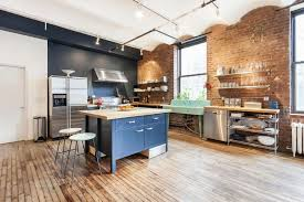 Urban Kitchen Design With Brick Decor And Wall Shelf