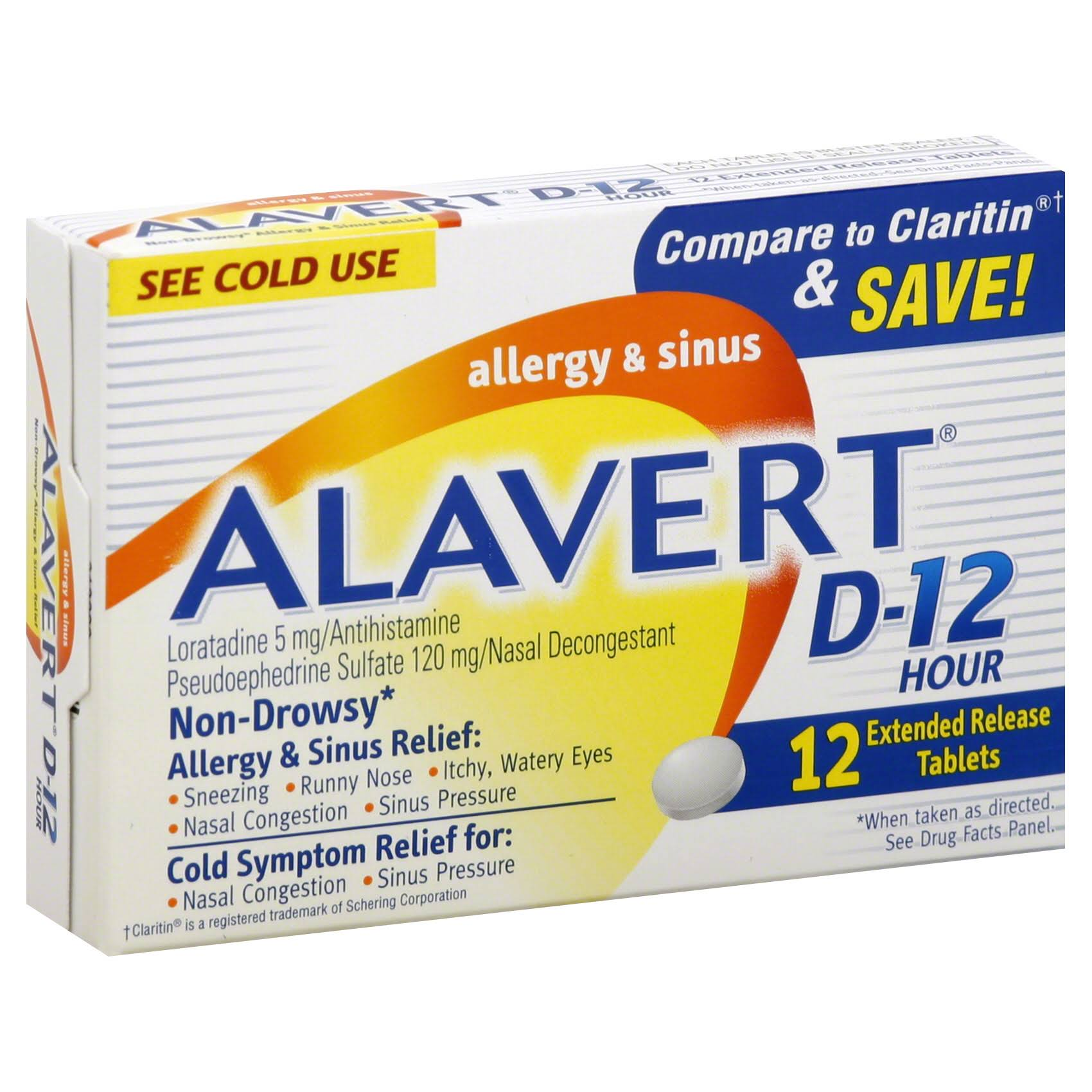 Alavert D-12 Allergy & Sinus, Non-Drowsy, 12 Hour, Extended Release Tablets - 12 tablets