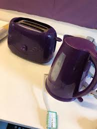 Purple Toaster And Kettle Set