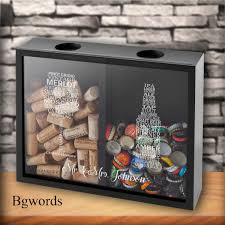 Personalized Double Sided Beer Cap Wine Cork Display Shadow Box Personalized Wine Cork Box Wine Gifts Mom Gifts Wedding Gc1658