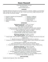 Warehouse Worker Resume Examples Example For Resumes