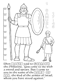 Young Small David Challenges Gigantic Goliath With A Rock And Big God 1 Samuel 1745 O Open Print This Christian Coloring Page
