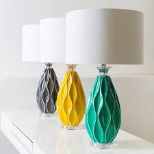 Add A Stylish Touch With This 285 Inch High Cotton Shaded Modern Lamp Its