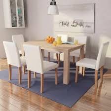 details zu vidaxl eiche essgruppe 7 tlg cremeweiß küchentisch esszimmer tisch stuhl