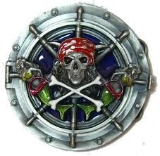 Ships Wheel Mermaids Skull Crossbones Belt Buckle With Display Stand Code AL3