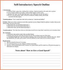 Self Introduction Speech Exampleslf Introduction Speech Outline