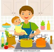 mann mit baby küche clip k58241486 fotosearch