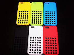 Apple iPhone 5c Cases Rubber Holes NEW Case RED BLACK WHITE YELLOW
