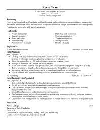 Event Specialist Resume Sample