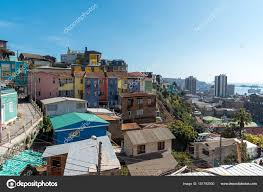 100 Houses In Chile View Colorful Valparaiso Pacific Ocean Stock Photo
