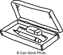 Vector Illustration Hand Drawn Sketch Of Pencil Box Isolated On White Background