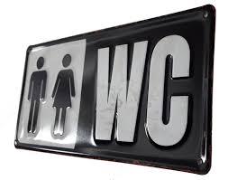 lb h f blechschild wc toilette badezimmer schwarz weiß
