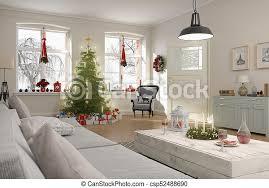 wohnzimmer render baum nordisch weihnachten 3d