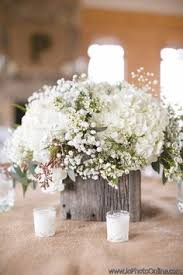 Gallery Rustic Wooden All White Flowers Wedding Centerpiece
