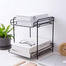 großhandel desktop organizer büro lagergestell doppelküche badezimmer schmiedeeisen aufbewahrungsregal true natürliches stand regal schwarz