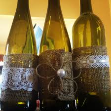 My Wedding Center Pieces Recycled Wine Bottles And Burlap Lace Twine