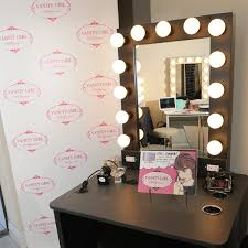 outstanding rectangle black makeup mirror with lights metal mirror