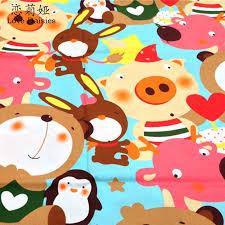 100 Cotton Twill Cloth Cartoon Big Pattern Animals DIY For Kids Bedding Cushions Sheet Handwork Qulilting Fabric Tissues Sewing