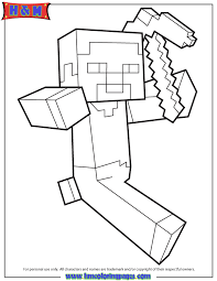 Herobrine Coloring Pages Steve Running Holding Pickaxe