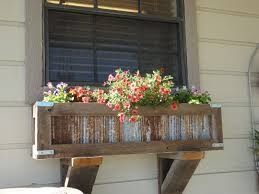 Handcrafted Rustic Window Box Planter For Kitchen Crafted Out Of Reclaimed Cedar And Tin