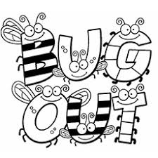 Bee Bug Bugs Spelling Out Coloring Pages