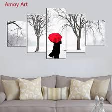 5 panels allein frauen gehen in winter wandbilder für wohnzimmer foto auf leinwand wandkunst schlafzimmer leinwand malerei